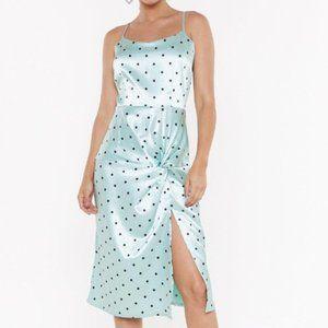 NWT - Satin Dotted Twist Midi Dress